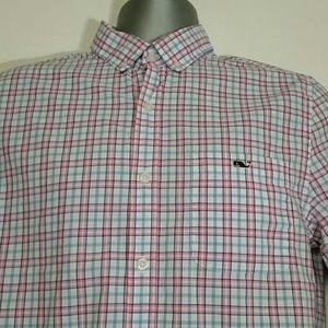 Vineyard Vines Shirts - Men's pink & blue vineyard vines top size S